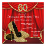 Red Gold High Heel Stepping into 60 Birthday Party Invitation