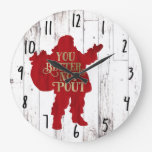 Red & Gold Santa Toy bag You Better Not Pout Large Clock