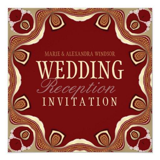 Red Gold Tribal Royal Alternative Wedding Invitati Card