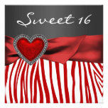Red Heart Zebra Black White Sweet 16 Party Invitations