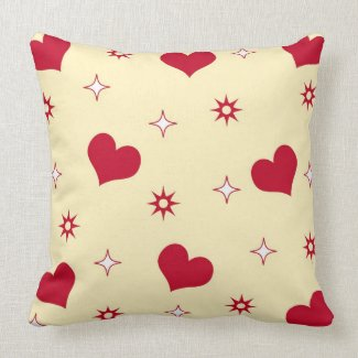 Red hearts and stars throwpillow