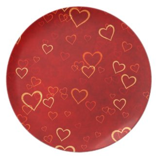 red hearts pattern dinner plates