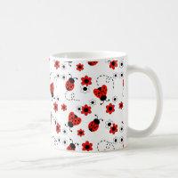 Red Ladybug Lady Bug Floral White Flowers Coffee Mug