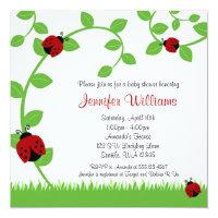 Red Ladybug Vines Baby Shower Invitations