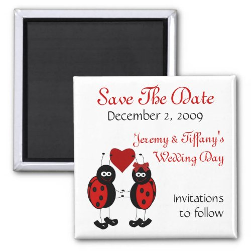 Red Ladybugs Save the Date Magnet