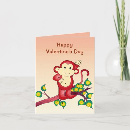 Red Monkey Animal Valentines Day Holiday Card