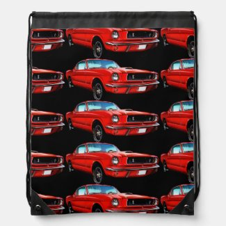 Red Mustangs on Black Drawstring