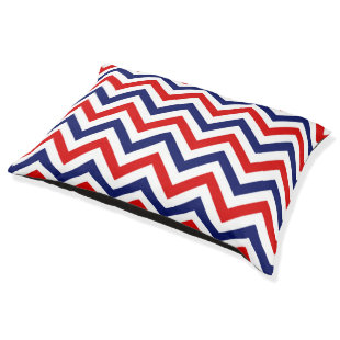 Red, Navy Blue Large Chevron ZigZag Pattern Large Dog Bed