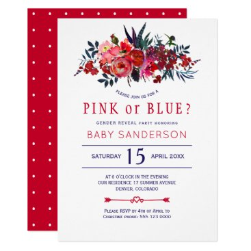 Red navy rustic floral baby gender reveal party card