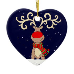Red-nosed reindeer Christmas Eve ornament
