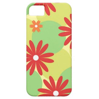 Red orange floral on green iPhone 5 cover
