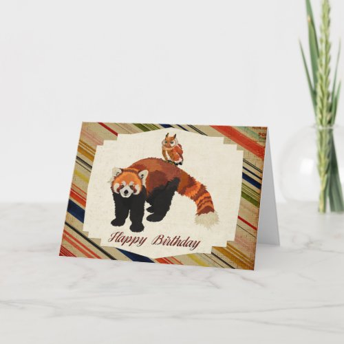 Red Panda & Owl Birthday Card