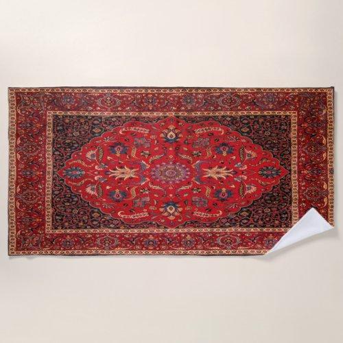 Red Persian Rug from Mashhad Beach Towel