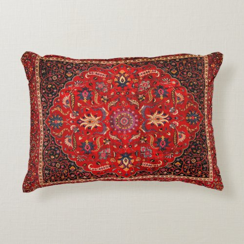Red Persian Rug from Mashhad Decorative Pillow