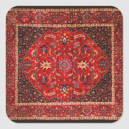 Red Persian Rug from Mashhad Square Sticker