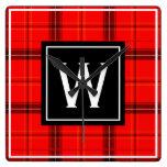Red Plaid Black Tartan Custom Monogram Initial Square Wall Clock