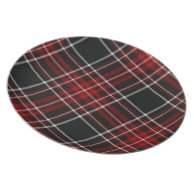 Red Plaid Tartan Plate on Zazzle