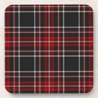 Red Plaid Tartan Cork Coaster (Square) on Zazzle