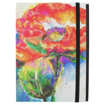 """Red Poppy watercolor painting iPad Pro 12.9"""" Case"""