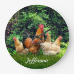 Red Rooster and Hens Large Clock