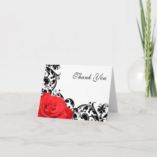 Red Rose Black Flourish Thank You