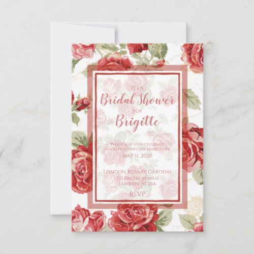 Red rose, floral classic print bridal shower thank you card