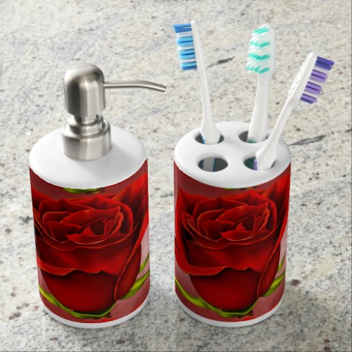 Red Roses Soap Dispenser And Toothbrush Holder