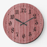 Red Rustic Wooden Clock