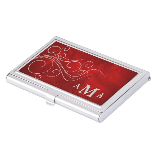 Red Silver Swirl Monogram Business Card Holder