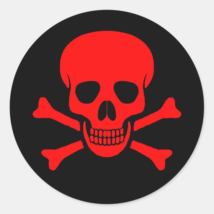 Red Skull Crossbones Sticker Zazzle Com