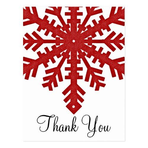 Red Snowflake Winter Season Thank You Postcards