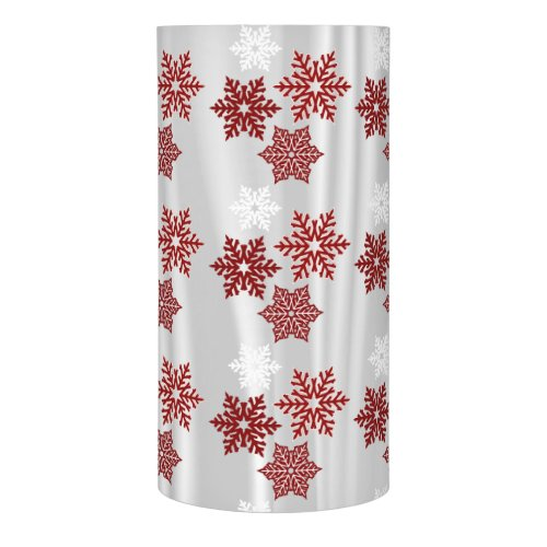 Red Snowflakes on White Satin Flameless Candle