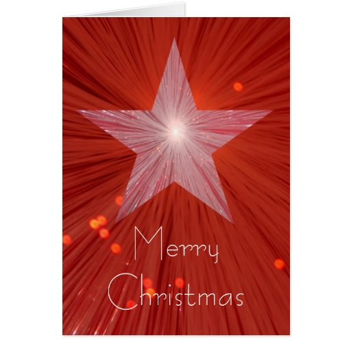 Red Star Merry Christmas Vertical Greetings Card Zazzle