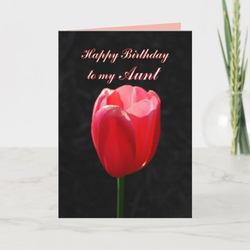 Red Tulip Happy Birthday Aunt card
