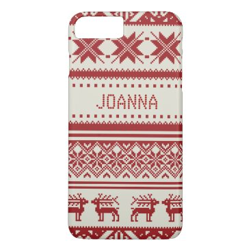 Red Ugly Christmas Sweater Pattern - Custom iPhone 8 Plus/7 Plus Case