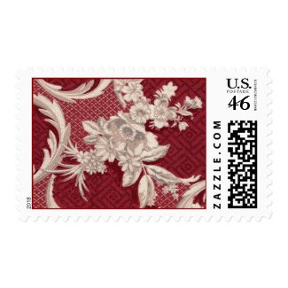 Red Victorian Wallpaper Postage stamp