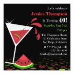 Red Watermelon Martini Birthday Party Invitation