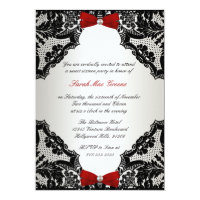 Red, white and Black lace Sweet 16 5x7 Paper Invitation Card