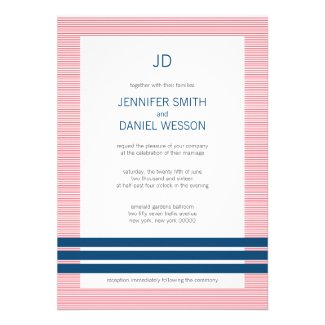Red White And Blue Stripes Monogram Wedding Invite