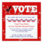 Red White Blue Gender Reveal Party Invitations