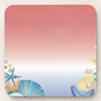 Red White Blue Starfish Shell Montage Drink Coaster