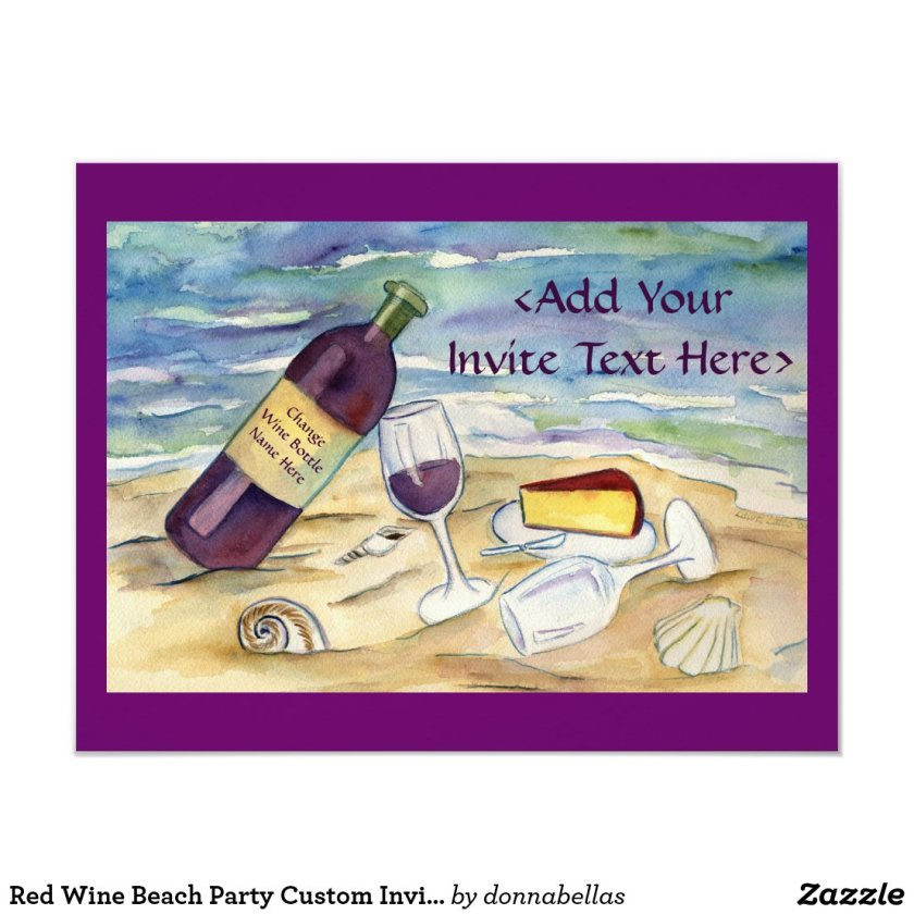 Red Wine Beach Party Custom Invites or Invitations