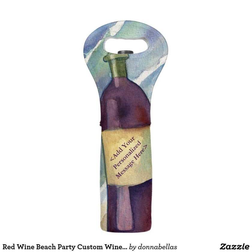 Red Wine Beach Party Custom Wine Bottle Tote Bags