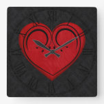 Red Wooden Rustic Grunge Heart Square Wallclock