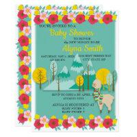 Red Yellow Teal Llama Baby Shower Invitation