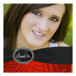 Red Zebra Photo Sweet 16 Birthday Party Custom Announcements