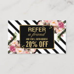 Refer a Friend | Beautiful Pink Floral Stripes Referral Card