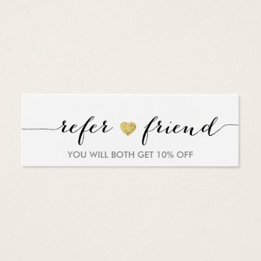 Referral Card | Elegant Minimal Gold Heart Elegant