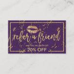 Referral Card | Gold Lips Salon Trendy Purple