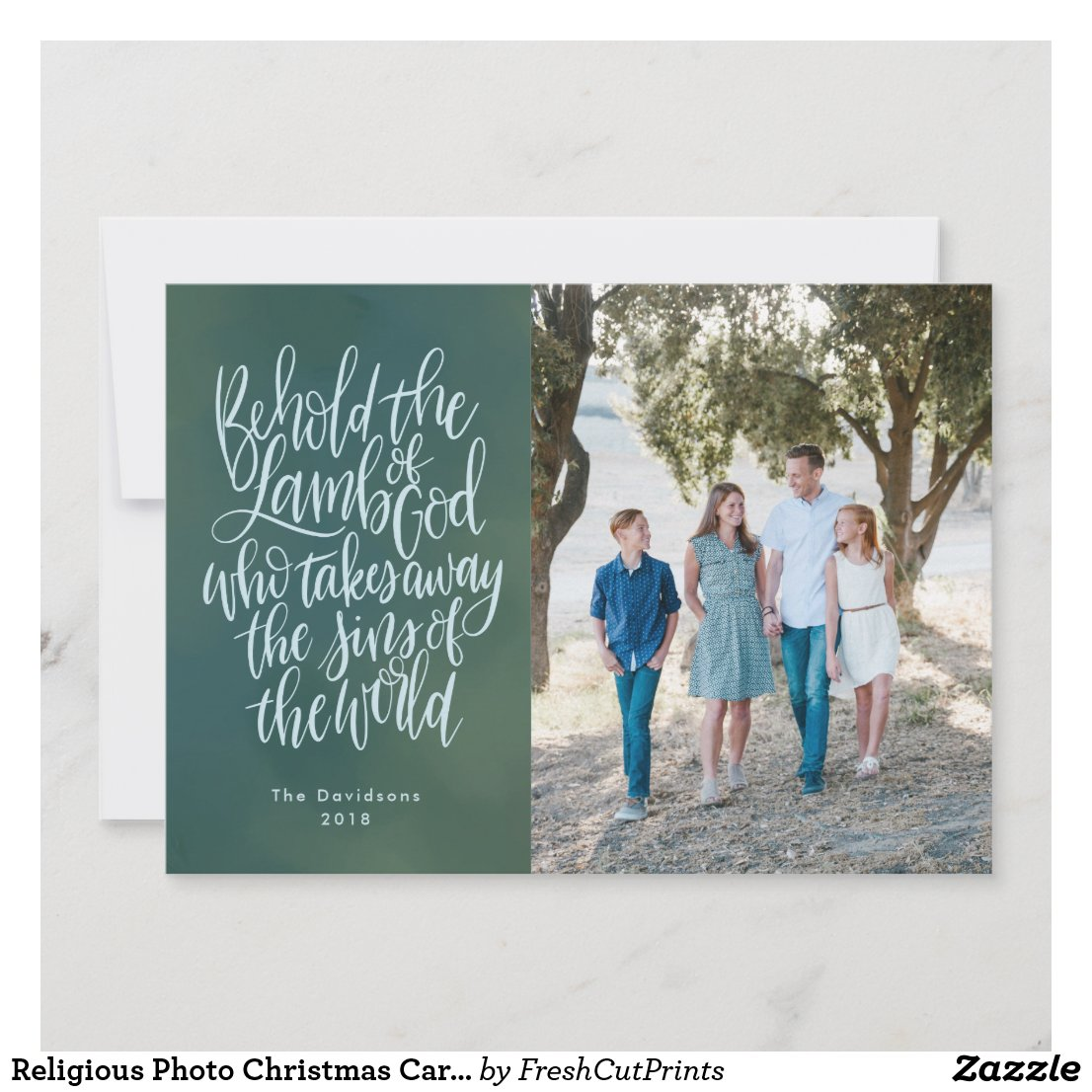 Religious Photo Christmas Card with Bible Verse